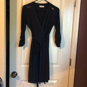 Navy wrap dress 3/4 length sleeves